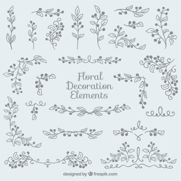 Hand drawn floral decoration pack