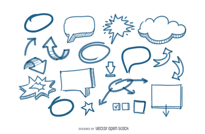 Speech Bubbles and arrows doodles