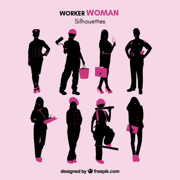 Worker woman silhouettes
