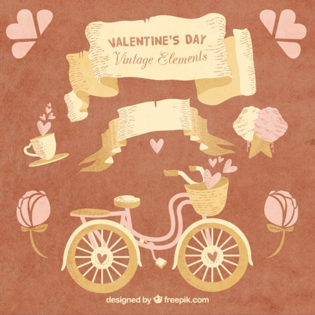 Vintage elements for valentine day