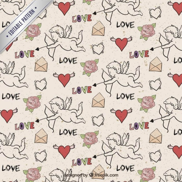 Hand drawn cupid pattern