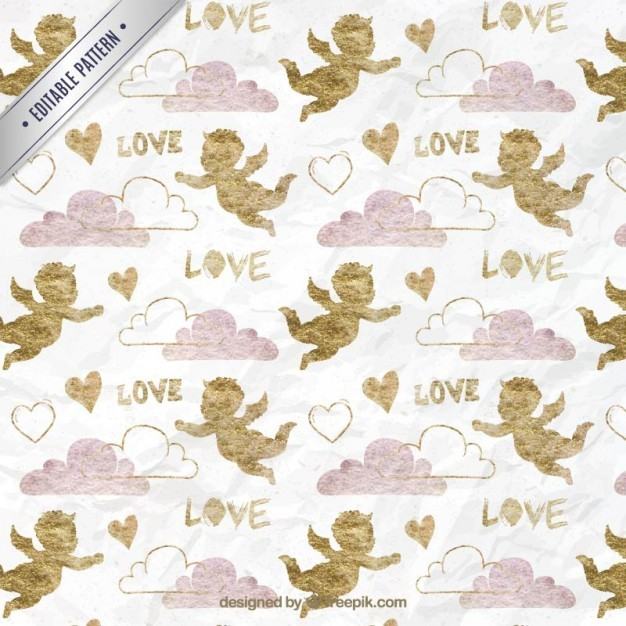 Golden cupid with clouds pattern
