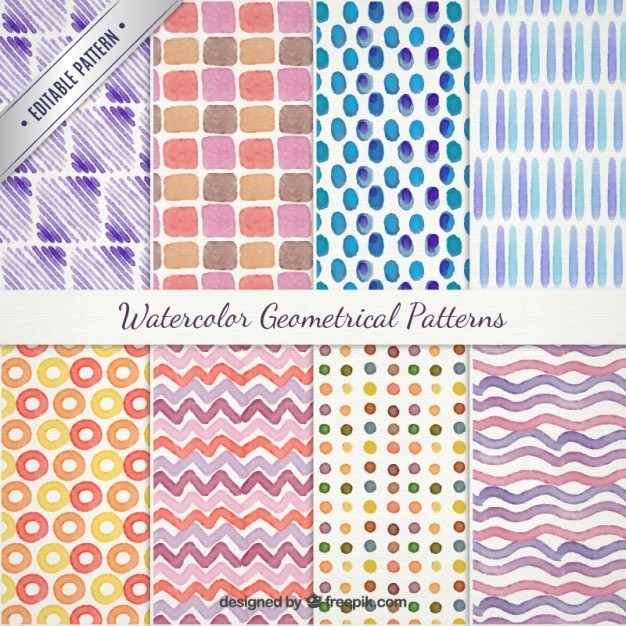 Watercolor geometrical patterns pack