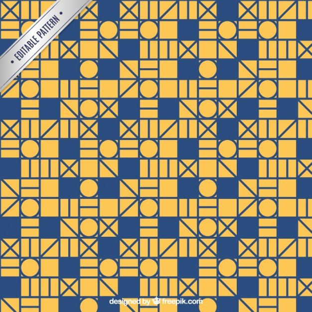 Retro geometric mosaic pattern
