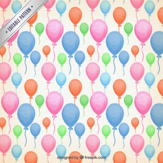 Watercolor colour balloons pattern