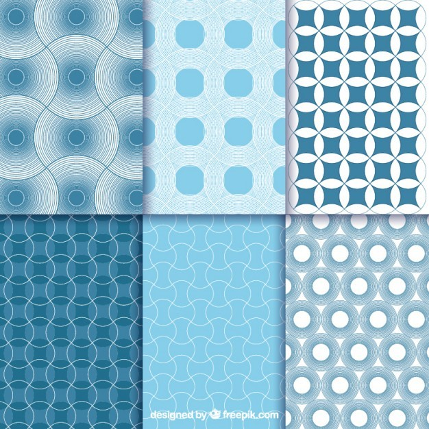 Blue abstract geometric patterns