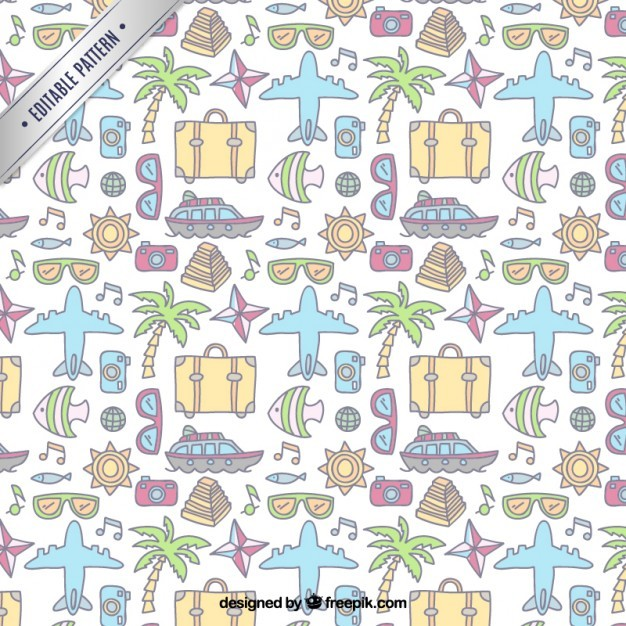 Hand drawn travelers elements pattern