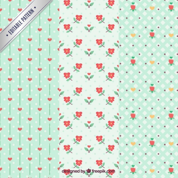 Flowers and hearts pattern pack