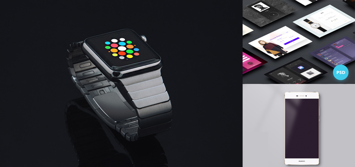 20 Mobile UI Kit, Apple Watch and Huawi Mockup