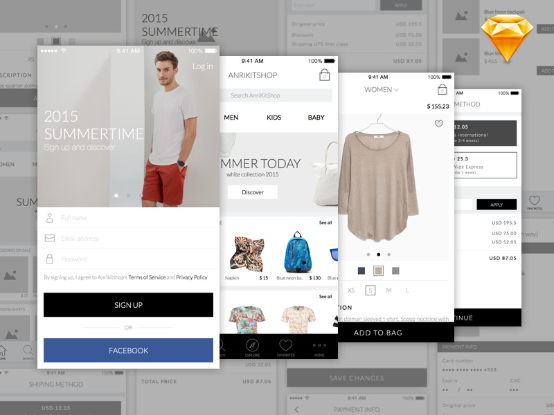 Ecommerce kit app Design