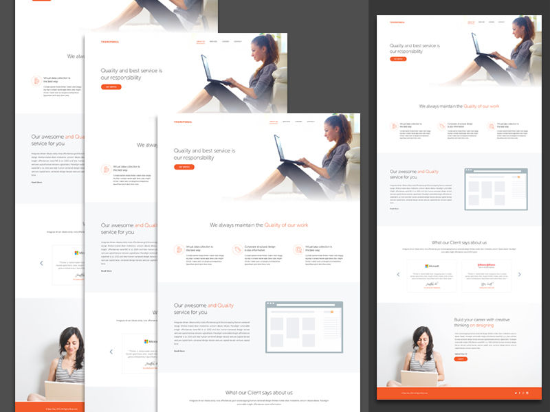 Responsive Service Template PSD