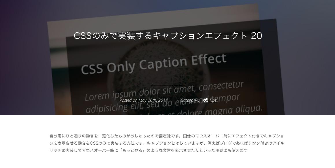 CSSのみで実装するキャプションエフェクト 20