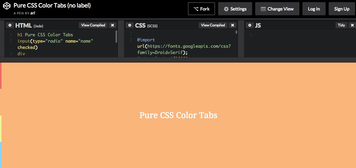 Pure CSS Color Tabs (no label)