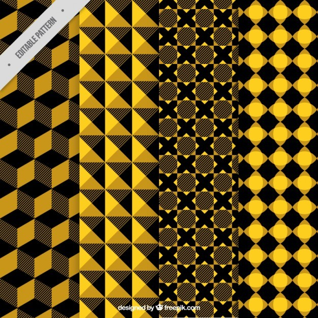 Yellow and black abstract patterns