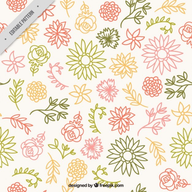 Sketches colors floral pattern