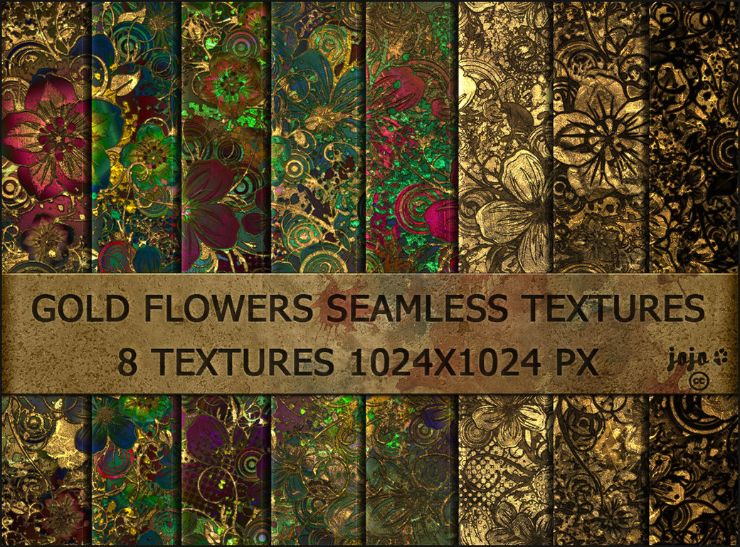 Gold flowers seamless textures