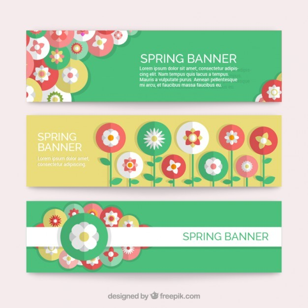 Flat flowers banners