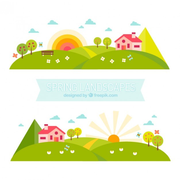 Spring landscapes banners in flat design