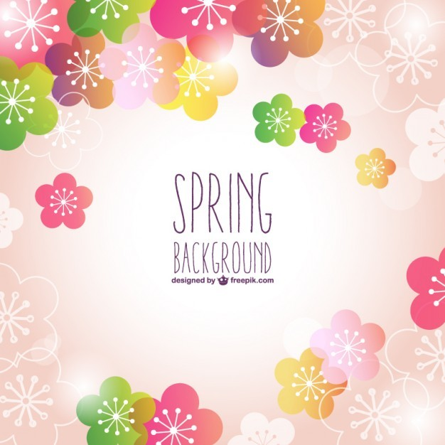Pink floral spring vector background