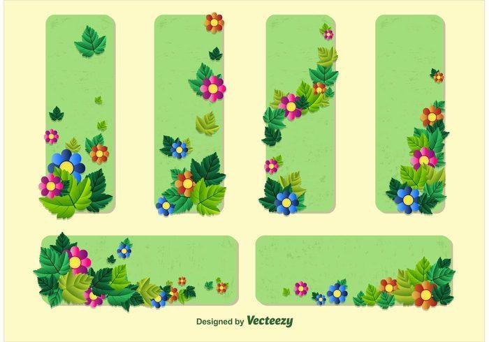 Spring Floral Banner Vector Templates