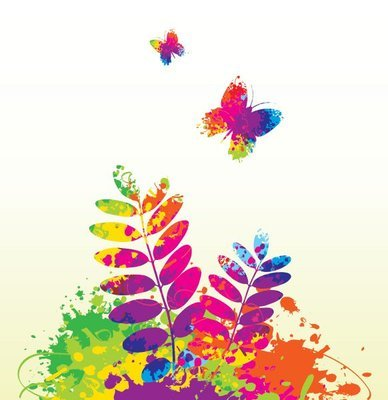 Colorful Ink Splashed Spring Concept