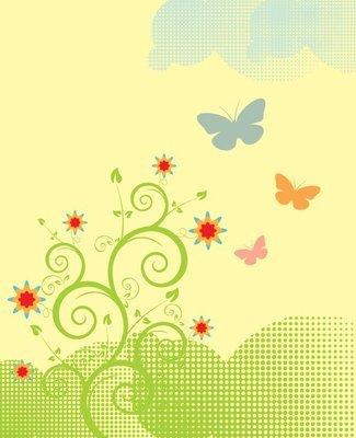 Floral Plant Butterflies Spring Landscape