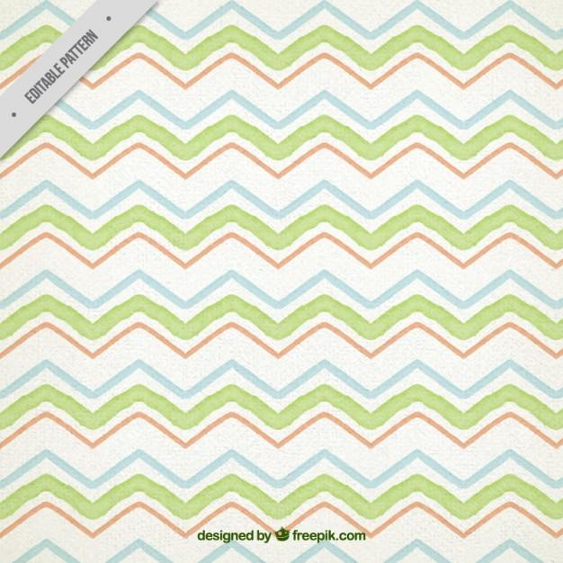 Green Watercolor Zig Zag Pattern