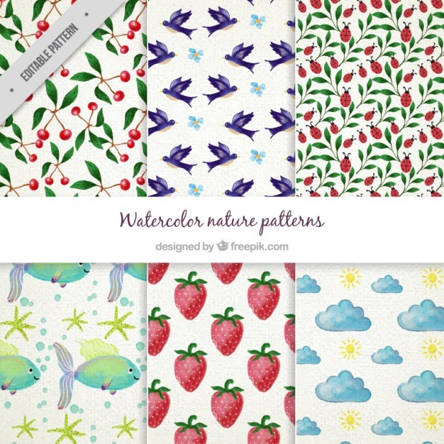 Watercolor Nature Pattern Collection