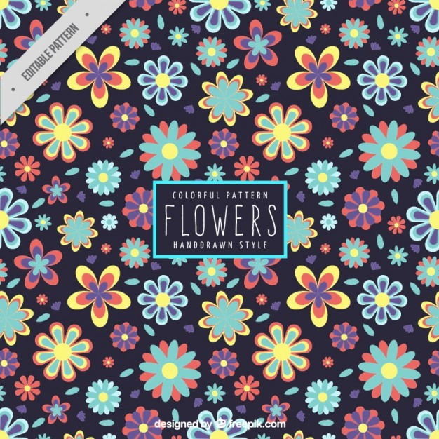 Colorful hand drawn flowers pattern