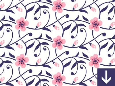Free Flower Blossom Seamless Pattern