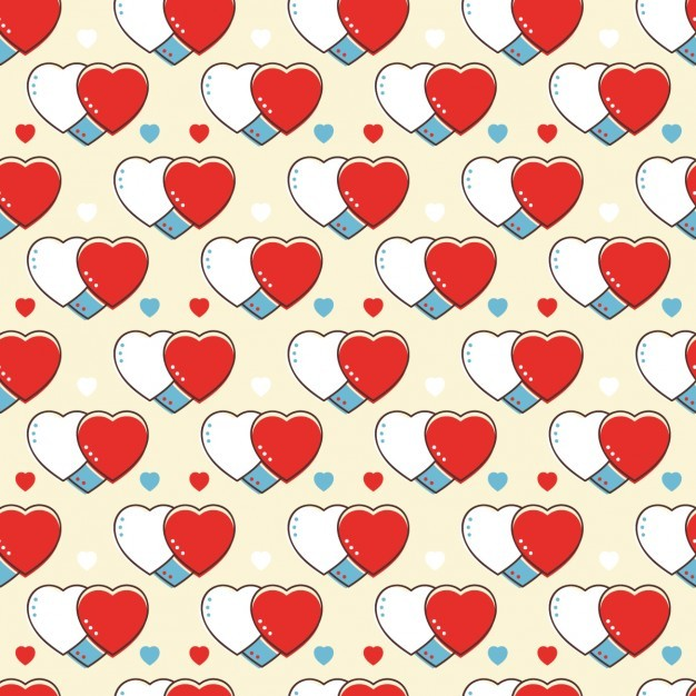 Retro pattern with hearts