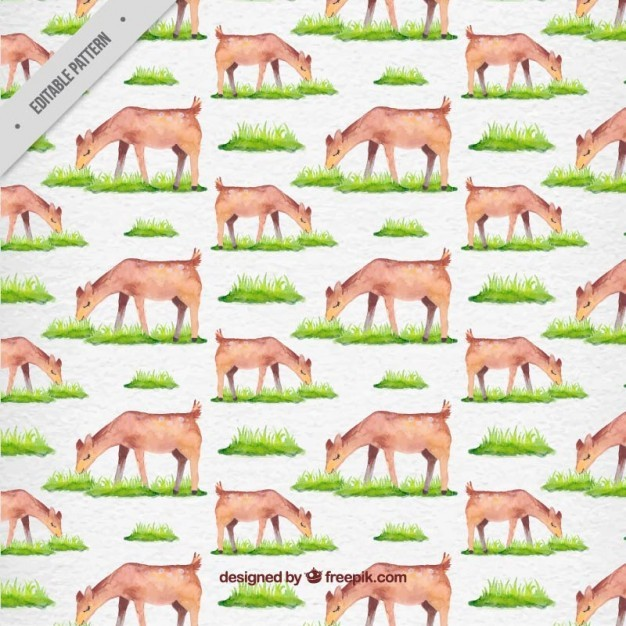 Watercolor lovely fawn grazing pattern