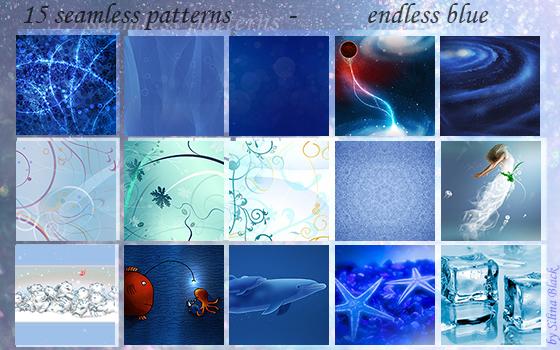 15 Seamless Patterns - Endless Blue