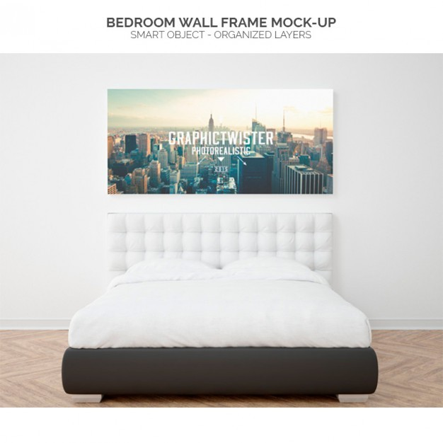 Bedroom wall frame mock-up