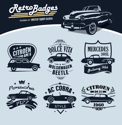 6 Retro Badges Cars