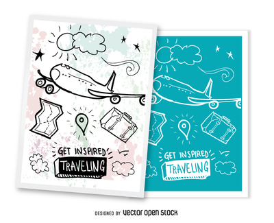 Set of 2 travelingpostcards