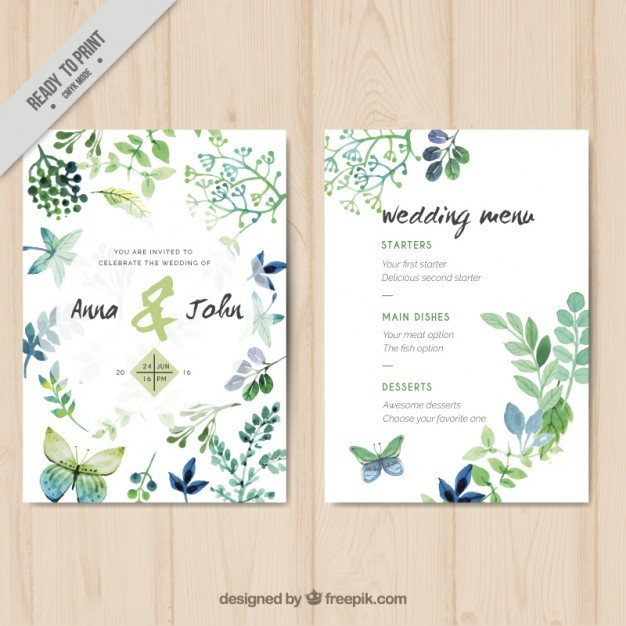 Watercolor wedding invitation with leaves and butterflies Free Vector