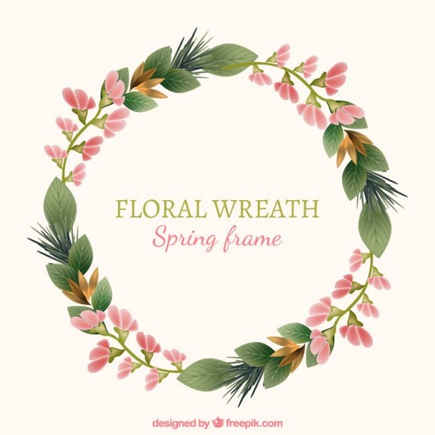 Pink little flowers wreath with leaves