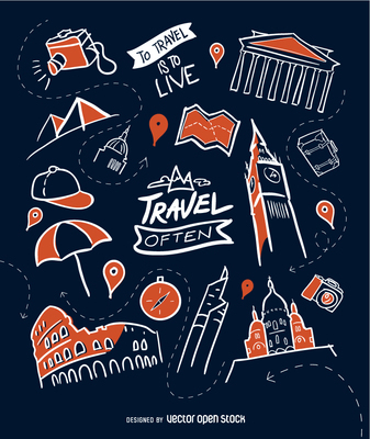 Hand-drawn travel wallpaper