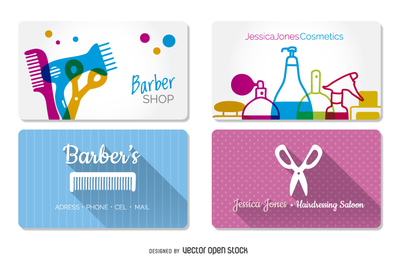 Hairdressing and barber shop business cards templates