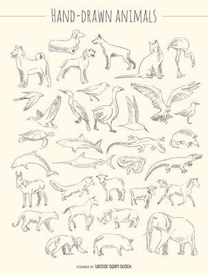 Hand-drawn animals set