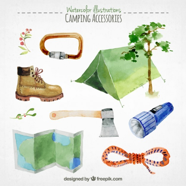 Collection of watercolor camping accessories