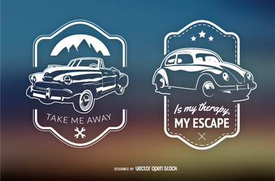 2 retro cars emblems