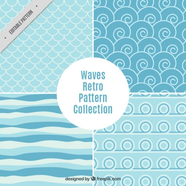 Waves abstract pattern collection