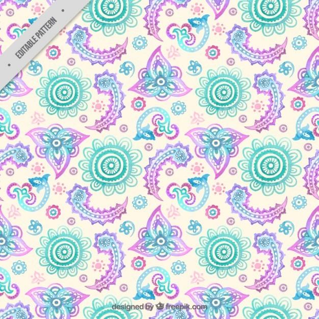 Watercolor floral decoration pattern