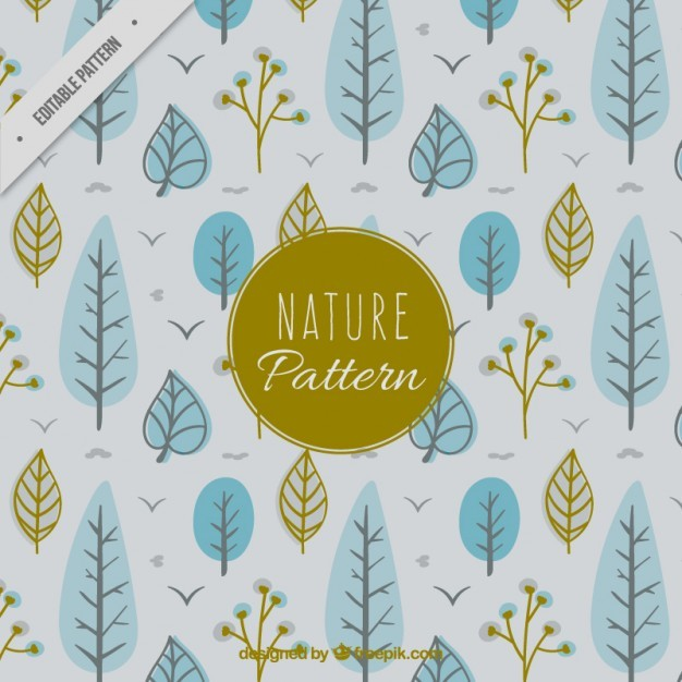 Cute trees and leaves pattern