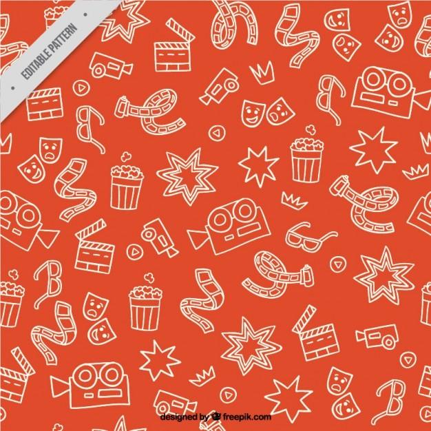 Sketches cimema elements orange pattern