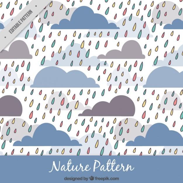Hand drawn colored rain pattern