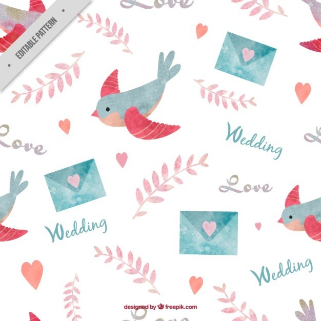 Hand painted birds and envelope pattern