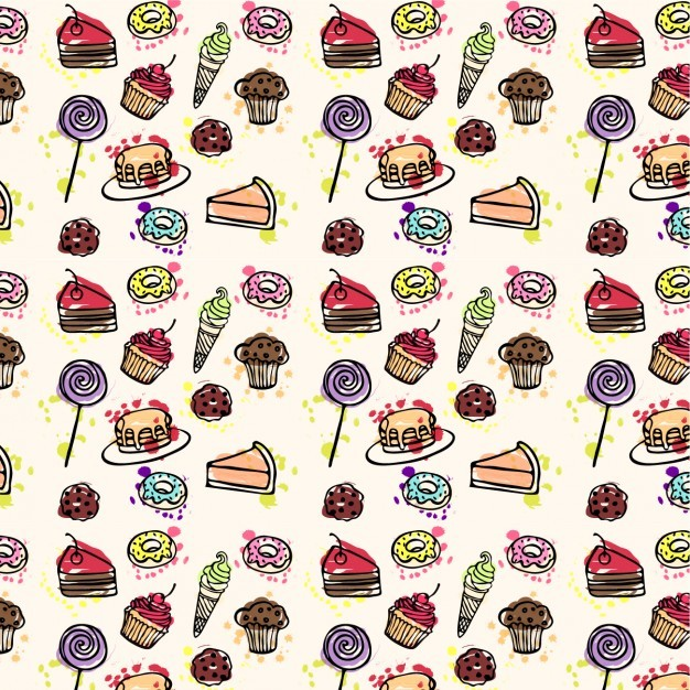 Cakes pattern hand drawn